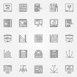 Sistema del vector de los iconos de la matemáticas Imágenes de archivo libres de regalías