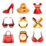 Sistema del vector de los iconos de la moda y de las compras Imagen de archivo libre de regalías