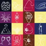 Sistema del vector de los iconos de la Navidad Imagenes de archivo