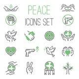 Sistema del vector de los iconos de la paz Imagen de archivo