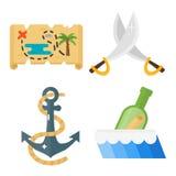 Sistema del vector de los iconos de los accesorios del juguete de las aventuras del pirata de los tesoros Fotografía de archivo
