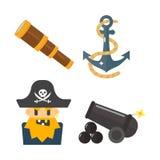 Sistema del vector de los iconos de los accesorios del juguete de las aventuras del pirata de los tesoros Imagen de archivo