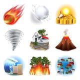Sistema del vector de los iconos de los desastres naturales Fotografía de archivo libre de regalías