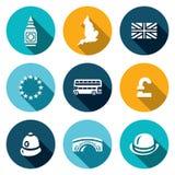 Sistema del vector de los iconos de Reino Unido Torre, reloj, territorio, bandera, unión europea, autobús, libra, policía, puente stock de ilustración