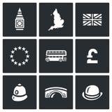 Sistema del vector de los iconos de Reino Unido Torre, reloj, territorio, bandera, unión europea, Dabldeker, libra, policía, puen stock de ilustración