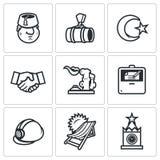 Sistema del vector de los iconos de Turquía y de Rusia ilustración del vector