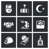 Sistema del vector de los iconos de Turquía y de Rusia Turco, gaseoducto, escudo de armas, acuerdo, Gas-tenedor, eje, contrato stock de ilustración
