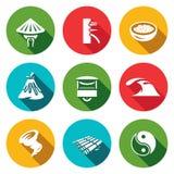 Sistema del vector de los iconos de Vietnam Vietnamita, Wing Chun Kung Fu, comida, naturaleza, comercio, océano, huracán, balsa,  stock de ilustración