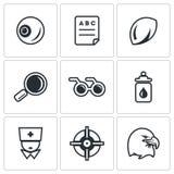 Sistema del vector de los iconos de Vision del ser humano Fotografía de archivo