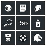 Sistema del vector de los iconos de Vision del ser humano Imágenes de archivo libres de regalías