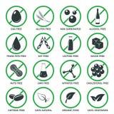 Sistema del vector de los iconos del alergénico Foto de archivo