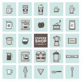 Sistema del vector de los iconos del café Foto de archivo libre de regalías