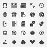 Sistema del vector de los iconos del casino Imagen de archivo libre de regalías
