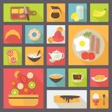 Sistema del vector de los iconos del desayuno Imagen de archivo libre de regalías