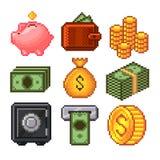 Sistema del vector de los iconos del dinero del pixel ilustración del vector