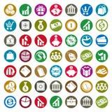 Sistema del vector de los iconos del dinero, símbolos del tema de las finanzas Imagen de archivo libre de regalías