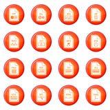 Sistema del vector de los iconos del formato de archivo Foto de archivo libre de regalías