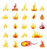 Sistema del vector de los iconos del fuego Foto de archivo