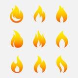 Sistema del vector de los iconos del fuego Foto de archivo libre de regalías