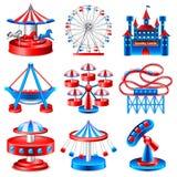 Sistema del vector de los iconos del parque de atracciones Imagen de archivo libre de regalías