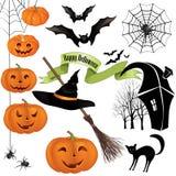 Sistema del vector de los iconos del partido de Halloween. Elementos del día de fiesta del diseño Fotografía de archivo