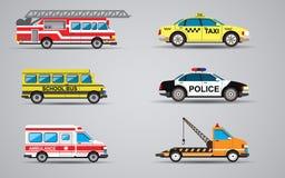 Sistema del vector de los iconos del transporte Fuego Imagen de archivo