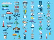 Sistema del vector de los iconos del viaje Fotografía de archivo libre de regalías
