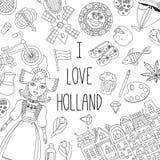 Sistema del vector de los iconos de Holland Netherlands fotos de archivo libres de regalías