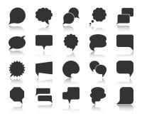 Sistema del vector de los iconos de la silueta del negro de la burbuja del discurso stock de ilustración