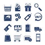 Sistema del vector de los iconos de las compras aislado Colección de la compra y de la entrega Ilustración del Vector