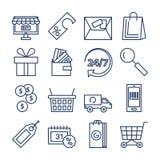 Sistema del vector de los iconos de las compras aislado Colección de la compra y de la entrega Muestra en línea o off-line de las Foto de archivo