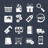 Sistema del vector de los iconos de las compras Colección de la compra y de la entrega Muestra en línea o off-line de las compras Fotografía de archivo