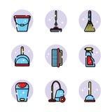 Sistema del vector de los iconos planos para las herramientas de limpieza en casa Objetos aislados en el fondo blanco Limpiando e ilustración del vector