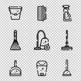 Sistema del vector de los iconos planos para las herramientas de limpieza en casa Objetos aislados en un fondo transparente Limpi libre illustration