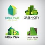 Sistema del vector de los iconos verdes del edificio, logotipos Eco stock de ilustración