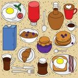 Sistema del vector de los ingredientes para el desayuno Imagen de archivo