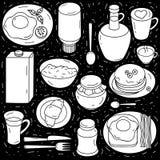Sistema del vector de los ingredientes para el desayuno en fondo negro Foto de archivo libre de regalías