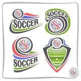 Sistema del vector de los logotipos abstractos para el fútbol ilustración del vector