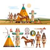 Sistema del vector de los objetos tribales indios americanos, iconos, elementos del diseño en estilo plano Tótem, lugar del fuego Fotografía de archivo libre de regalías