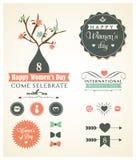 Sistema del vector de los ornamentos del día de la mujer y decorativo