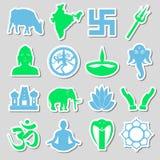 Sistema del vector de los símbolos de las religiones del Hinduismo de las etiquetas engomadas eps10 Imagenes de archivo