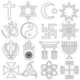 Sistema del vector de los símbolos de las religiones del mundo de iconos del esquema Foto de archivo libre de regalías