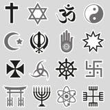 Sistema del vector de los símbolos de las religiones del mundo de las etiquetas engomadas eps10 Fotos de archivo libres de regalías