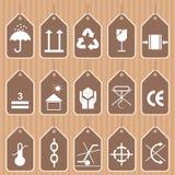 Sistema del vector de los símbolos del embalaje y del envío Imagen de archivo libre de regalías