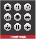 Sistema del vector de los símbolos del viaje Imagen de archivo libre de regalías