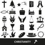 Sistema del vector de los símbolos de la religión del cristianismo de iconos Fotografía de archivo libre de regalías