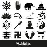 Sistema del vector de los símbolos de las religiones del budismo de los iconos eps10 Foto de archivo libre de regalías
