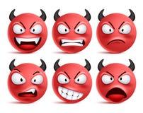 Sistema del vector de los smiley del demonio Emoticons sonrientes de la cara o del rojo del mún diablo con expresiones faciales libre illustration
