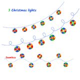 Sistema del vector de luces de la Navidad imagen de archivo