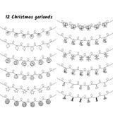 Sistema del vector de luces y de guirnaldas de la Navidad imagen de archivo